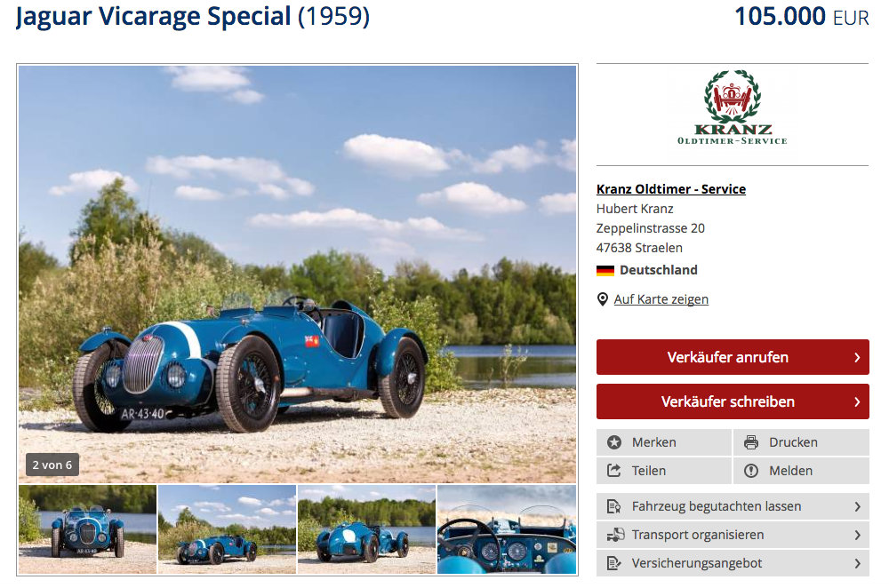 Jaguar XK 150 Vicarage Special For Sale