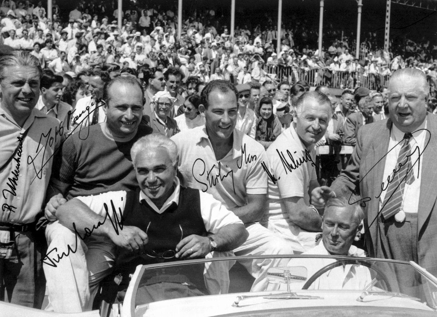 Sir Stirling Moss Juan-Manuel Fangio Alfred Neubauer 1955 Mercedes-Benz (4)